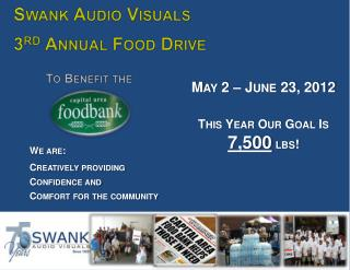Swank Audio Visuals 3 rd  Annual Food Drive To Benefit the