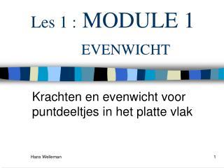Les 1 :  MODULE 1       EVENWICHT