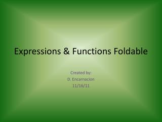 Expressions & Functions Foldable