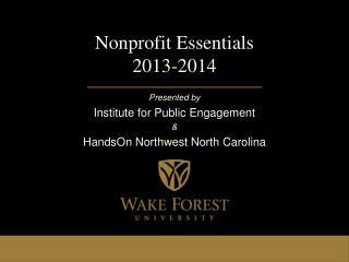 Nonprofit Essentials 2013-2014