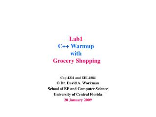 Lab1 C++ Warmup  with Grocery Shopping