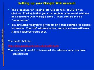 Setting up your Google Wiki account