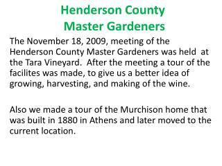 Henderson County  Master Gardeners