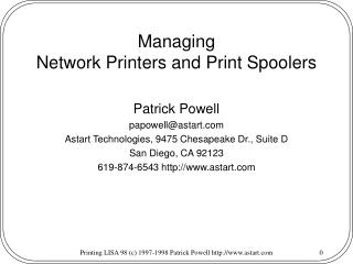 Managing Network Printers and Print Spoolers