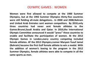 OLYMPIC  GAMES  : WOMEN