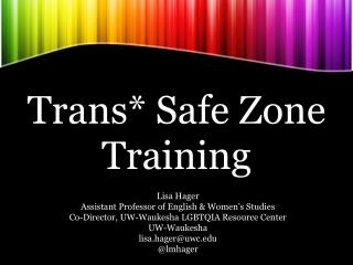 Trans* Safe Zone Training