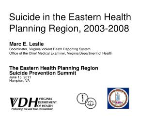 Suicide in the Eastern Health Planning Region, 2003-2008
