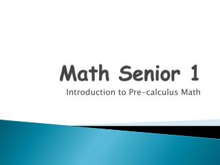Math Senior 1