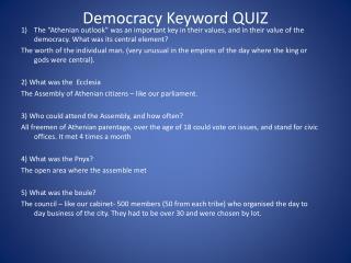 Democracy Keyword QUIZ