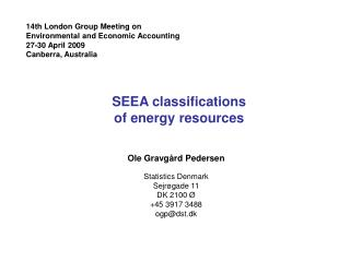 SEEA classifications  of energy resources