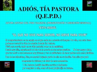 ADIÓS, TÍA PASTORA (Q.E.P.D.)