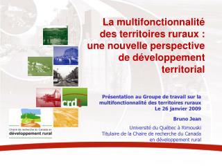 Présentation au Groupe de travail sur la multifonctionnalité des territoires ruraux