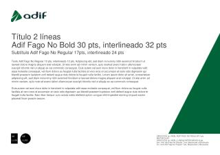T ítulo 2 líneas  Adif Fago No Bold 30 pts, interlineado 32 pts