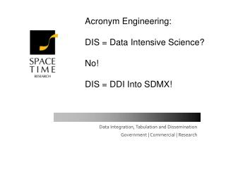Acronym Engineering:  DIS  Data Intensive Science  No  DIS  DDI Into SDMX