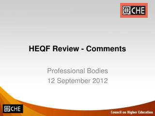 HEQF Review - Comments