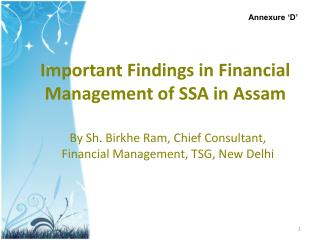 Important Findings in Financial Management of SSA in Assam