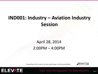 IND001: Industry � Aviation Industry Session