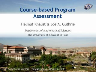 Course-based Program Assessment