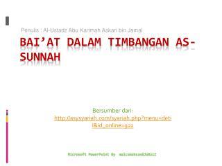 Bai'at dalam Timbangan  As- Sunnah