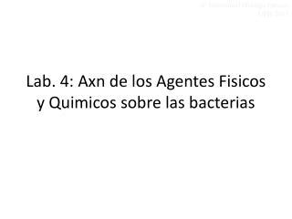 Lab . 4:  Axn  de los Agentes  Fisicos  y  Quimicos  sobre las bacterias
