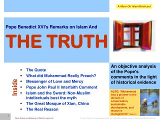 Pope Benedict XVI's Remarks on Islam And THE TRUTH