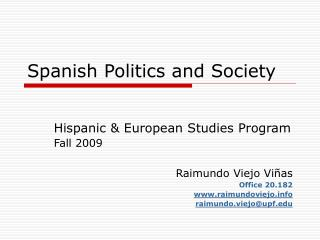 Spanish Politics and Society