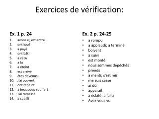 Exercices  de  vérification :