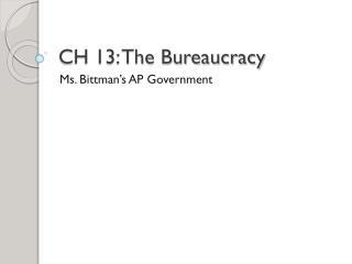 CH 13: The Bureaucracy