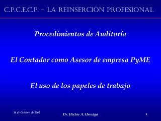 Procedimientos de Auditoría El Contador como Asesor de empresa PyME