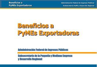 Administración Federal de Ingresos Públicos  Subsecretaría de la Pequeña y Mediana Empresa