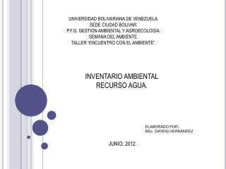 INVENTARIO AMBIENTAL RECURSO AGUA.