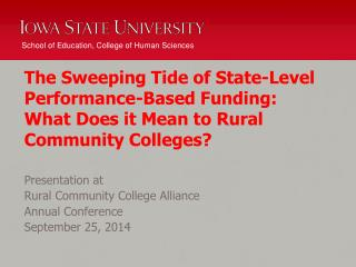 Presentation at   Rural Community College Alliance  Annual Conference September 25, 2014
