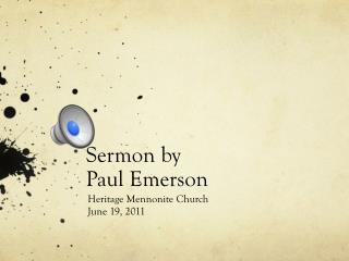 Sermon by Paul Emerson
