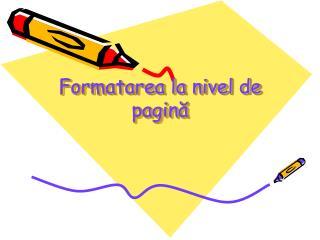Formatarea la nivel de pagină
