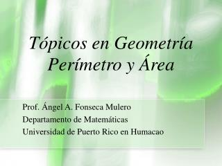 Tópicos en Geometría Perímetro y Área
