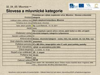 32_04_05: Mluvnice  –  Slovesa a mluvnické kategorie