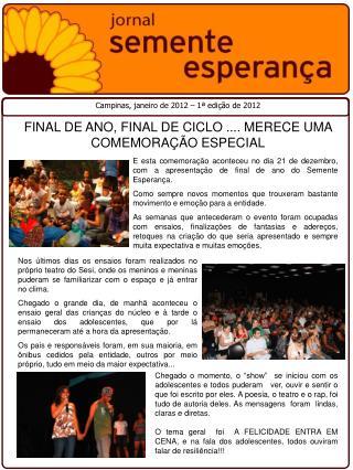 Campinas, janeiro de 2012 – 1ª edição de 2012
