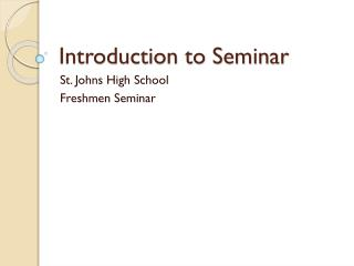 Introduction to Seminar