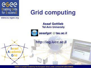 Grid computing Assaf Gottlieb Tel-Aviv University assafgot     tau.ac.il