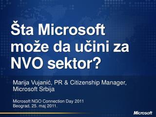 Šta Microsoft  može da učini za  NVO sektor?