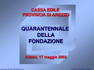 QUARANTENNALE  DELLA FONDAZIONE Arezzo, 17 maggio 2003