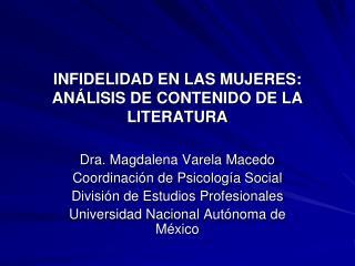 INFIDELIDAD EN LAS MUJERES: AN LISIS DE CONTENIDO DE LA LITERATURA