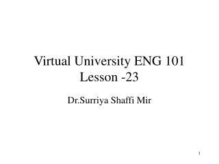 Virtual University ENG 101 Lesson -23