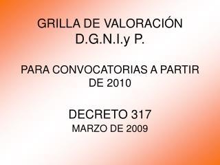 GRILLA DE VALORACIÓN D.G.N.I.y P. PARA CONVOCATORIAS A PARTIR DE 2010