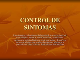 CONTROL DE SINTOMAS