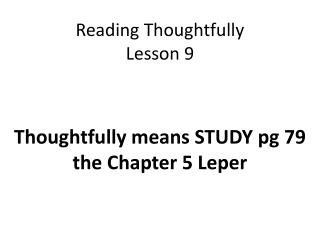 Reading Thoughtfully Lesson 9