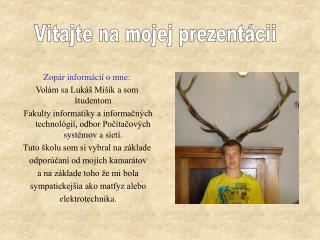 Zopár informácií o mne: Volám sa Lukáš Mišík a som študentom