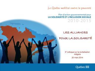 3 e  colloque sur la revitalisation intégrée 20 mars 2014