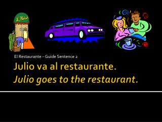 Julio  va  al  restaurante . Julio goes to the restaurant.