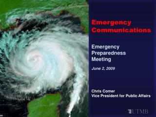 Emergency Communications  Emergency Preparedness  Meeting June 2, 2009